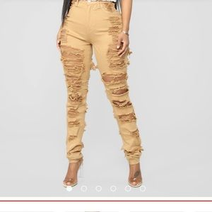 Really distressed high waisted jeans